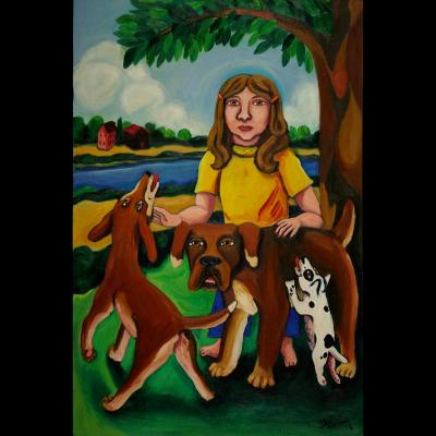 A Girl with Three Dogs
